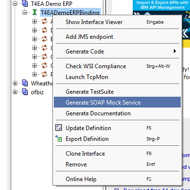 Installation of the Demo ERP WSDL and demo service